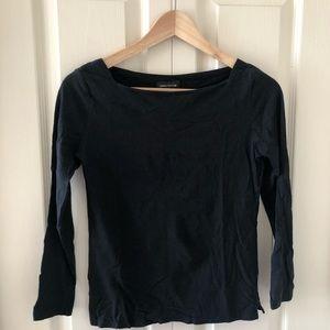 Lord & Taylor Black Mid-Sleeved Shirt